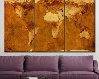 Large Wall Art, World Map Canvas Print, Large Map Wall Art, Vintage World Map, Ancient Map, brown map, World map, world map on canvas