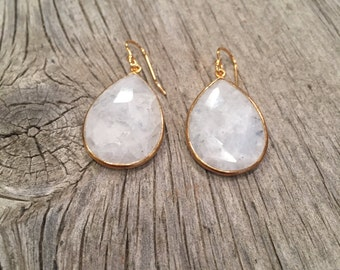 Rainbow moonstone teardrop gold earrings