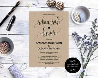 Rehearsal dinner invitation -  Rustic Wedding Invitation Printable - Kraft Rehearsal Invitation - Downloadable wedding invitations #WDH0078