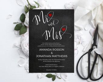 Chalkboard Mr. & Mrs. Wedding Invitation -  Mr. and Mrs. Invite - Wedding Invitation Template -  Editable  - Downloadable Wedding #WDH0196