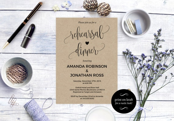 Rehearsal dinner invitation -  Rustic Wedding Invitation Printable - Kraft Rehearsal Invitation - Downloadable wedding invitations #WDH0078