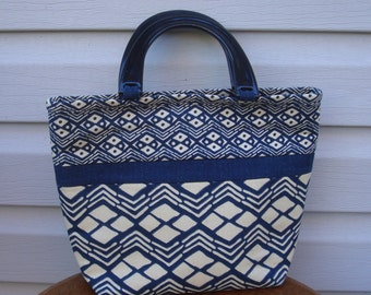 Mini Tote/Indigo African Mudcloth-Style Cotton Prints/Black Acrylic Handles/Top Handle Bag/Indigo and Ivory