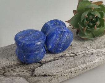 "Lapis Lazuli plugs, stone body jewelry, flared ear plugs, organic stone plugs, handmade plugs, stone plugs 9/16"", organic ear stretchers"