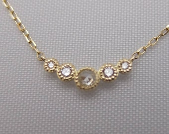 10k YG Rose Cut Diamond Necklace