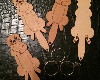 Cute Otter Keychain - Leather with 2 Sides! - Otter Bag Charm - Otter Key Chain - Otter Bag Decoration