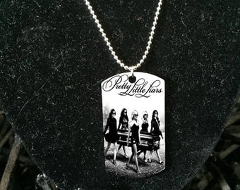 Silver plated Pretty little liars necklace Army ID, Dog tag necklace, pretty little liars necklace