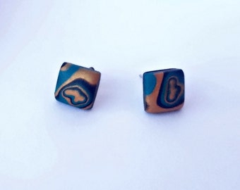 Square stud earrings_unique handmade mokume gane polymer clay jewellery