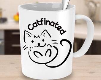 Catfinated Mug - Cat Owner Mug and Funny Cat Lover Gift for Women