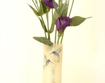 Pretty vase with sparkly hummingbirds - cylinder vase with natural cream coloured strawsilk glassware handmade in Devon by Karen Keir