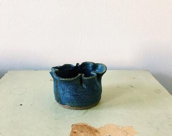 Flowery Blue Stoneware Ceramic Cup