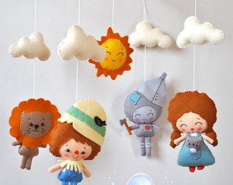 Baby mobile Wizard of Oz Nursery mobile Fairytale mobile Crib Cot mobile Hanging mobile Fairytale baby shower Cloud mobile Sun Felt mobile