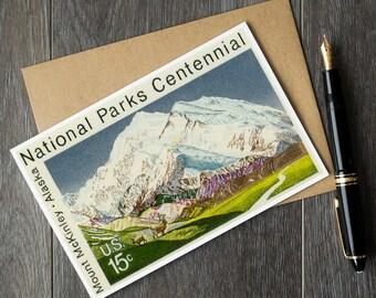 mount mckinley poster, mount mckinley cards, vintage mount mckinley art, national parks centennial cards, vintage national parks cards, art