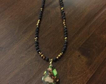 Sea-Sediment Jasper with Copper pendant necklace
