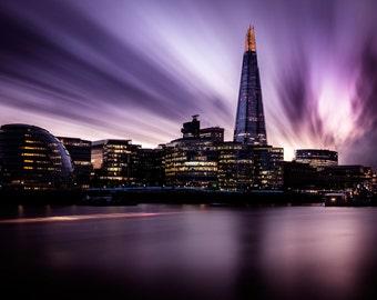 The Shard - London, long exposure, photographic print, England, cityscape, urban, architecture, city skyline, purple, fine art colour
