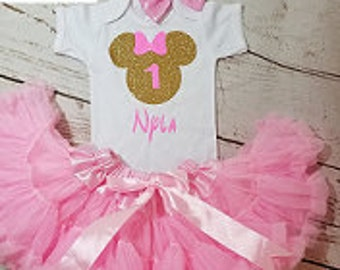 Minnie Mouse Birthday Outfit, Girls Birthday Outfit, Gold and Pink Pettiskirt Birthday Outfit, Petti skirt Birthday Outfit