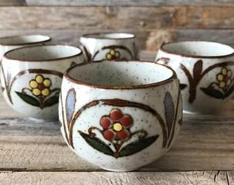 Set of 5 Vintage Otagiri Handleless Tea Cups, Otagiri Handpainted Stoneware