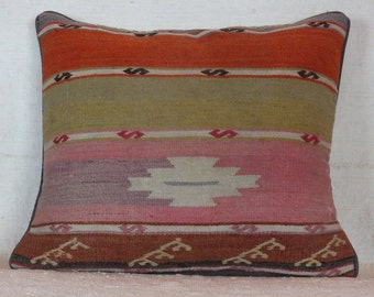 Turkish Kilim Pillow, 18x19 Pillow Cover