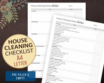 House Cleaning Chores Checklist, Weekly Cleaning Checklist, Chore Chart, House Cleaning, House Keeping, Cleaning List A4, Letter Size