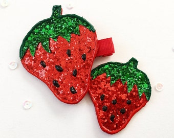 Strawberry Clip | Strawberry Hair Clip | Toddler Hair Clip | Baby Hair Clip | Fruit Hair Clip