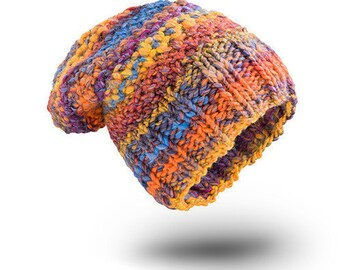 Thick Hat Chunky Etno Wool hat for women beanie hat  chunky hand knit hat