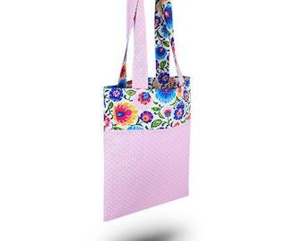 Cotton Bag Loxia Shopping bag Cotton tote bag Polka dot - Rainbow Folk Pink