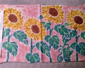 Sock Blank Hand Dyed Hand Painted / Sunflowers Tournesols