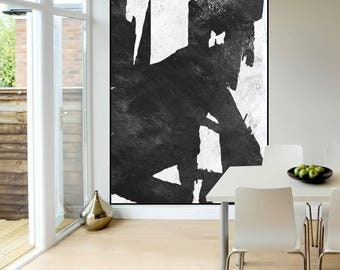 modern wall art original Abstract painting black and white, large Acrylic painting, extra large wall art, Contemporary Painting