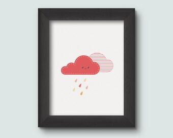 Cloud, Illustration, Children Illustration, Nursery Wall Art, Nursery Printable, Cute Illustration, Rainy Cloud, Nursery Decor, Red, Orange