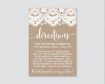 Printable OR Printed Wedding Direction Cards - Burlap and Lace Wedding Directions Inserts - Rustic Wedding Invitation Insert 0002