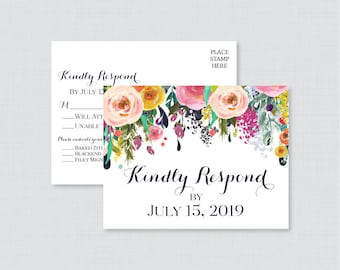 Printable OR Printed Wedding RSVP Postcards - Floral RSVP Postcards - Colorfu Flower Wedding Response Postcards, Invitation Insert 0003-B