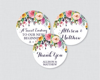 Printable OR Printed Wedding Stickers - Floral Circle Wedding Labels, Personalized Wedding Favor Tags/Stickers, Colorful Flower 0003-B