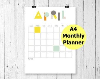 Printable Wall Calendar, Printable Calendar, Monthly Wall Calendar, Undated Calendar, Filofax A4, Binder, Undated Planner, Desk Calendar,