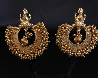 Indian Temple Jewelry - Indian Earrings - Temple Earrings - Temple Jewelry - Bollywood Jewelry - South Indian Earrings - Bollywood Earrings