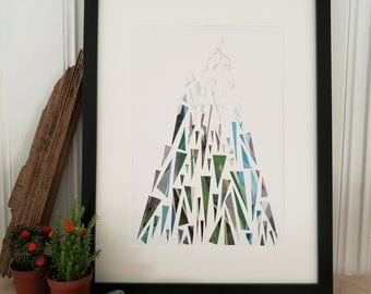 Norwegian Mountain. Print of original paper cut and collage art work.