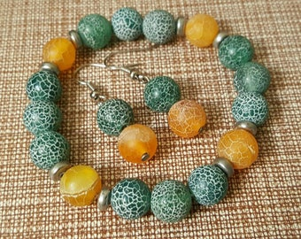 With Crackle agate jewelry set