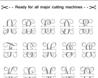 Split Vine monogram with arrows, SVG Monogram Font, Split Alphabet,Monogram Alphabet, Silhouette Cut Files,Cut Files, Interlocking Monogram.