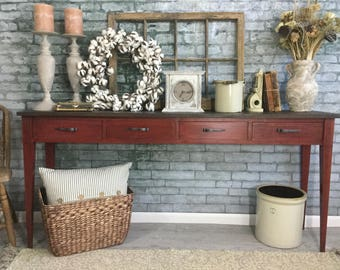 """Long Red Console Table ~ Handmade Console Table with Inlaid Details ~ 4 Drawer Sofa Table ~ Vintage Entryway Table 66"""" ~ Solid Wood ~ Walnut"""