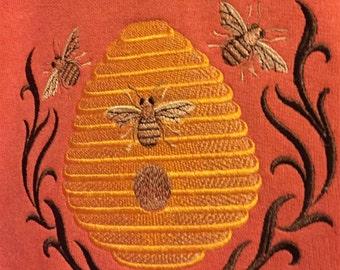 Muted Orange Bee Hive Embroidery Embellished Hooded Sweatshirt Adult XL
