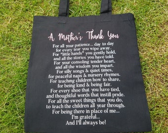 A Mother's Thank You Bag, Tote Bag, Gift For Teacher, Nanny Gift, Teacher Appreciation Gift, Gift for Babysitter, Teacher Gifts