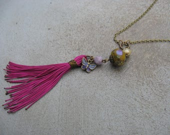 Plum and Green Rustic Boho tassel necklace, Lamp work Monet inspired bead dangle necklace, rustic boho necklace, butterfly jewelry