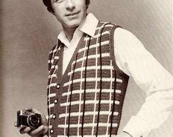Vintage Men's Plaid Vest Crochet Pattern