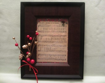 "Framed Antique Hymn ""O Come, All Ye Faithful"""