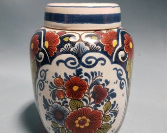 Delft Polychrome Ginger Jar with Lid