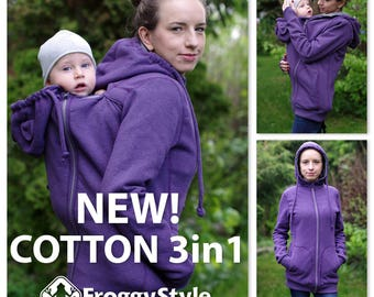 Best 3in1 Babywearing coat, baby wearing jacket, baby carrier cover, cotton, Front/Back kangaroo hoodie, S-2XL, purple, plus size, maternity
