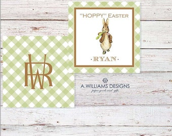 INSTANT DOWNLOAD/Printable Easter/gift tags for kids/personalized cards/GREEN gingham/3x3 Hoppy Easter cards