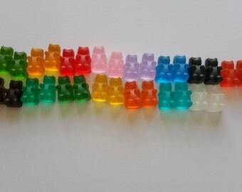 Plastic Gummy Bears Set of 10/Plastic Gummy Bear Beads/Gummy Bear Cabochon/Embellishments/ Gummy Bear Jewelry/Teddy Bear Jewelry