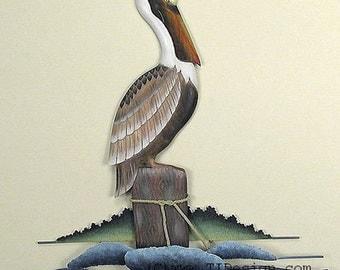 Resting Pelican Metal and Wood Wall Art - CW166