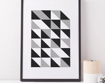 Geometric Print, Black And White Geometric Print, Triangles Print, Minimalist Poster, Graphic Print, Graphic Art, Grey Art, Modern Prints
