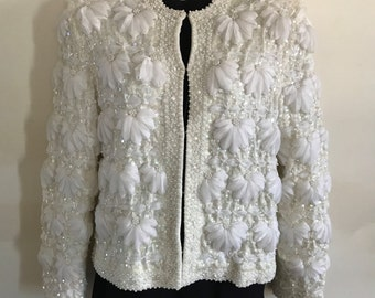 Lillie Rubin Vintage White Flower Jacket - Small - Made with Ribbon, Pearl, Sequins, Beads - Knit Sweater Cardigan 50s Glamorous Cream