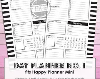 Mambi Mini Happy Planner Printable Daily Planner No. 1 - Day on one Page inserts for Mini Happy Planner